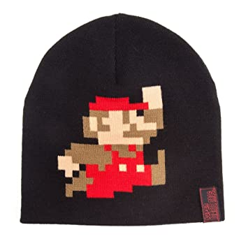 21f01a9394b Nintendo Super Mario Beanie with Retro Mario Game Sprite Character (Black)   Amazon.co.uk  PC   Video Games