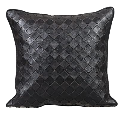 Amazon Black Pillows Cover Textured Leather Checks Faux New Faux Leather Pillows Decorative Pillows