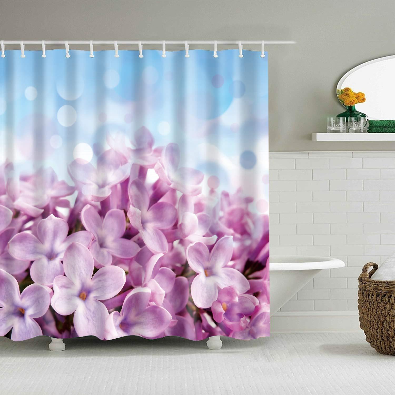 BROSHAN Flower Shower Curtain Pink Blue Bathroom DecorationSpring Floral Blossom Elegant Art PrintPolyester Waterproof Fabric Mildew Resistant