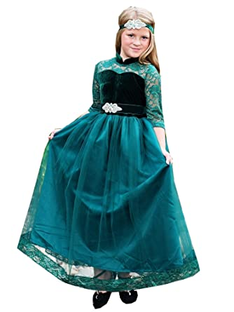 1fbac7d60d821 Little Girls Emerald Green Sash Velvet Lace Vivienne Christmas Gown 2