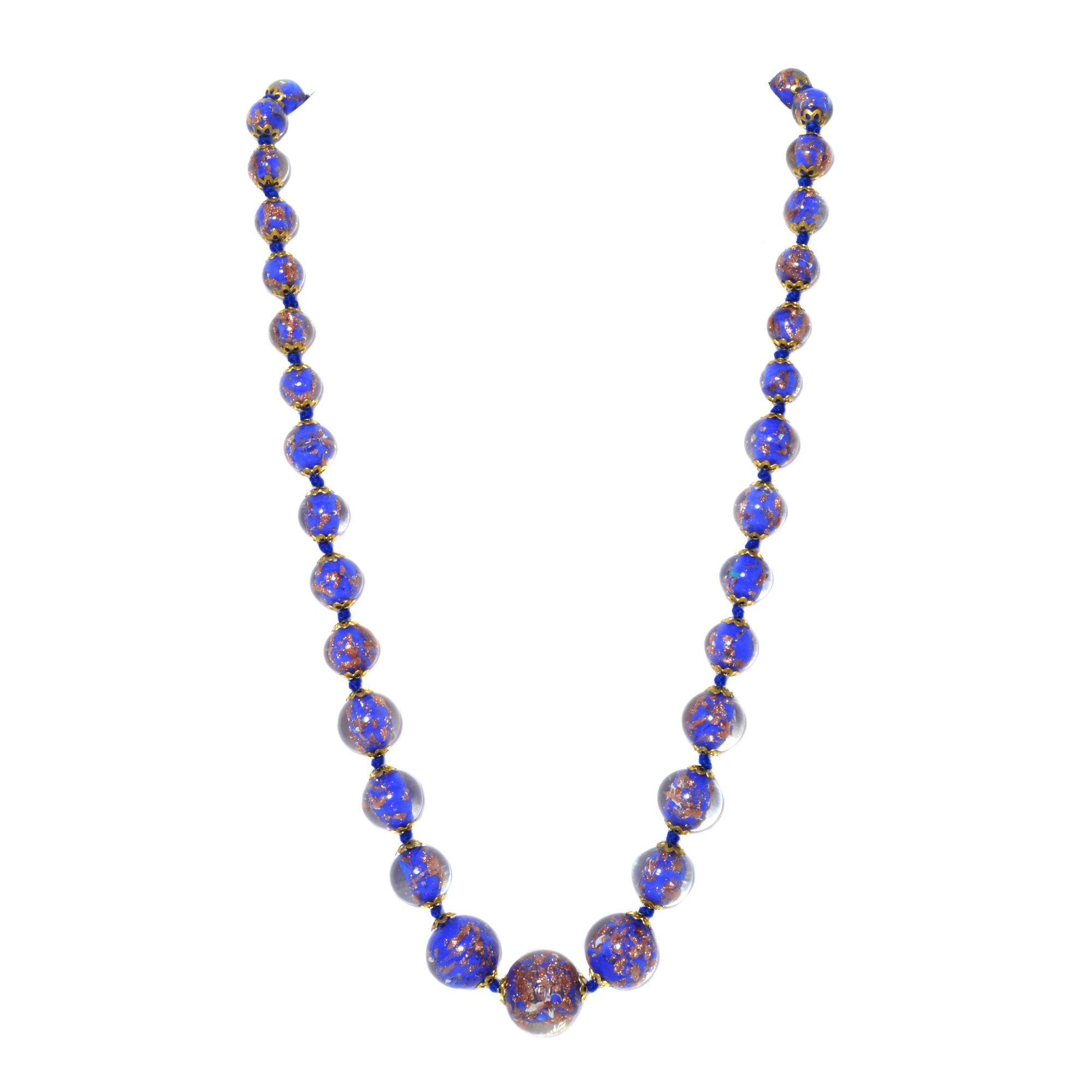 Just Give Me Jewels Venice Graduated Murano Sommerso Aventurina Glass Bead Strand Necklace in Blue, 19+2'' Extender