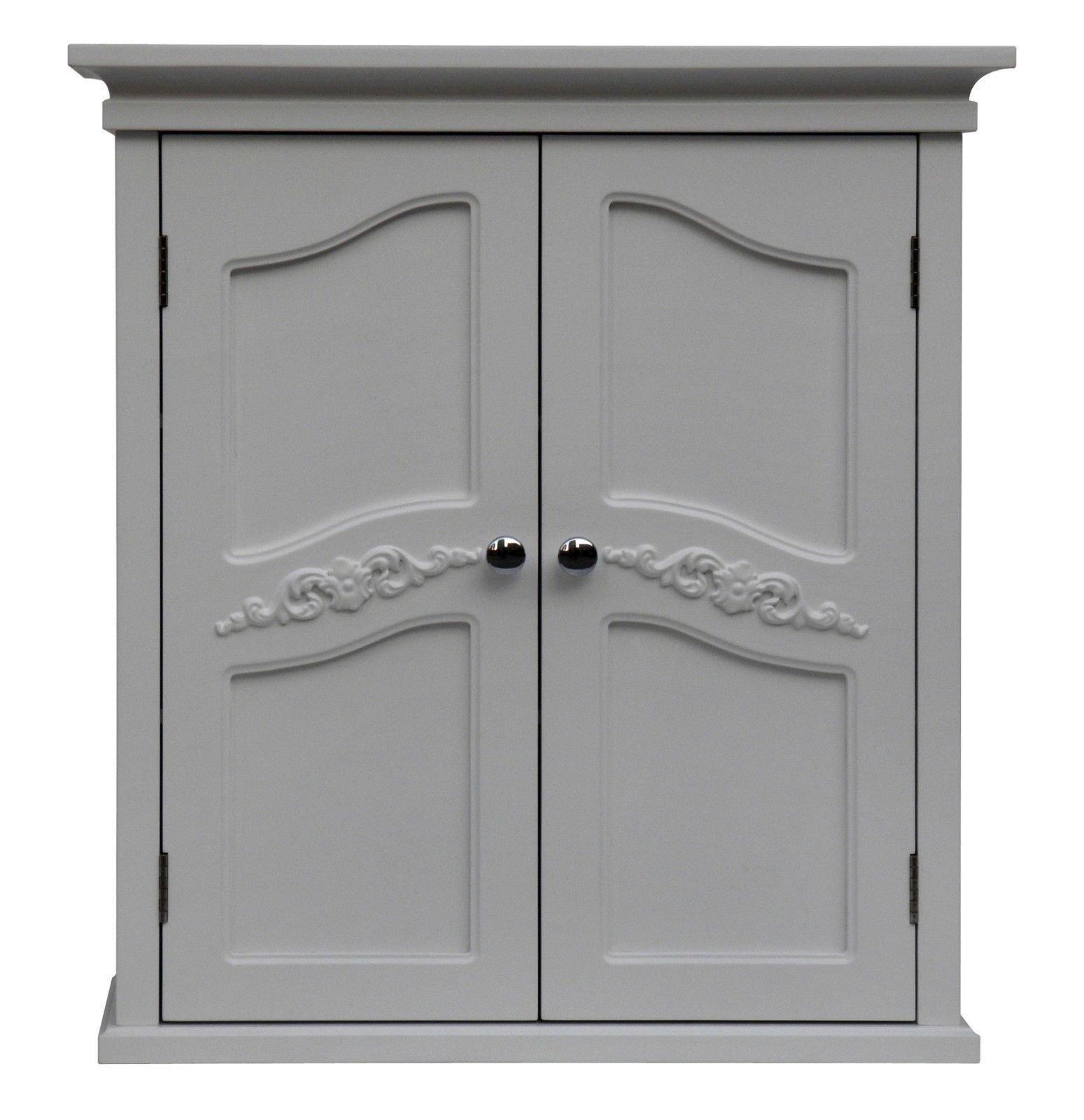 NEW White Bath Wall Medicine Cabinet Tank Topper Storage Shelf Wooden