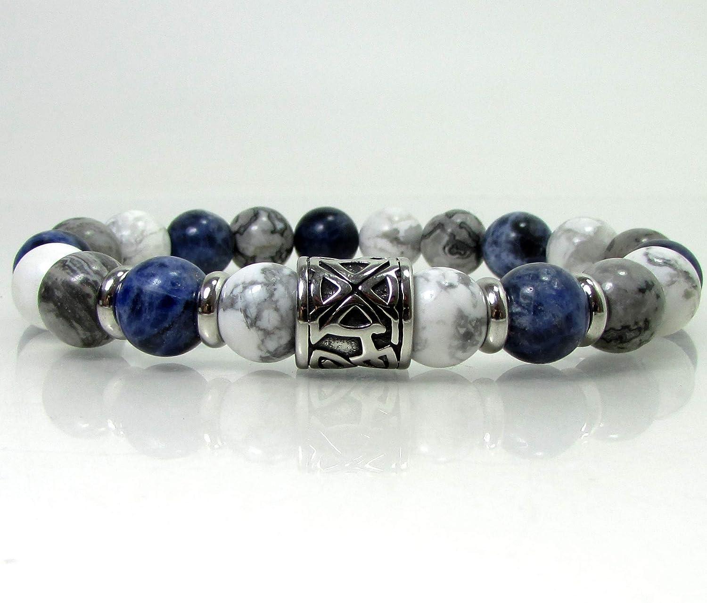Stone Unisex Gray Grey Jasper Matte Crystal Simple Howlite 8 mm Stretch Bracelet Strength White Peace Focus Clear Half Calm