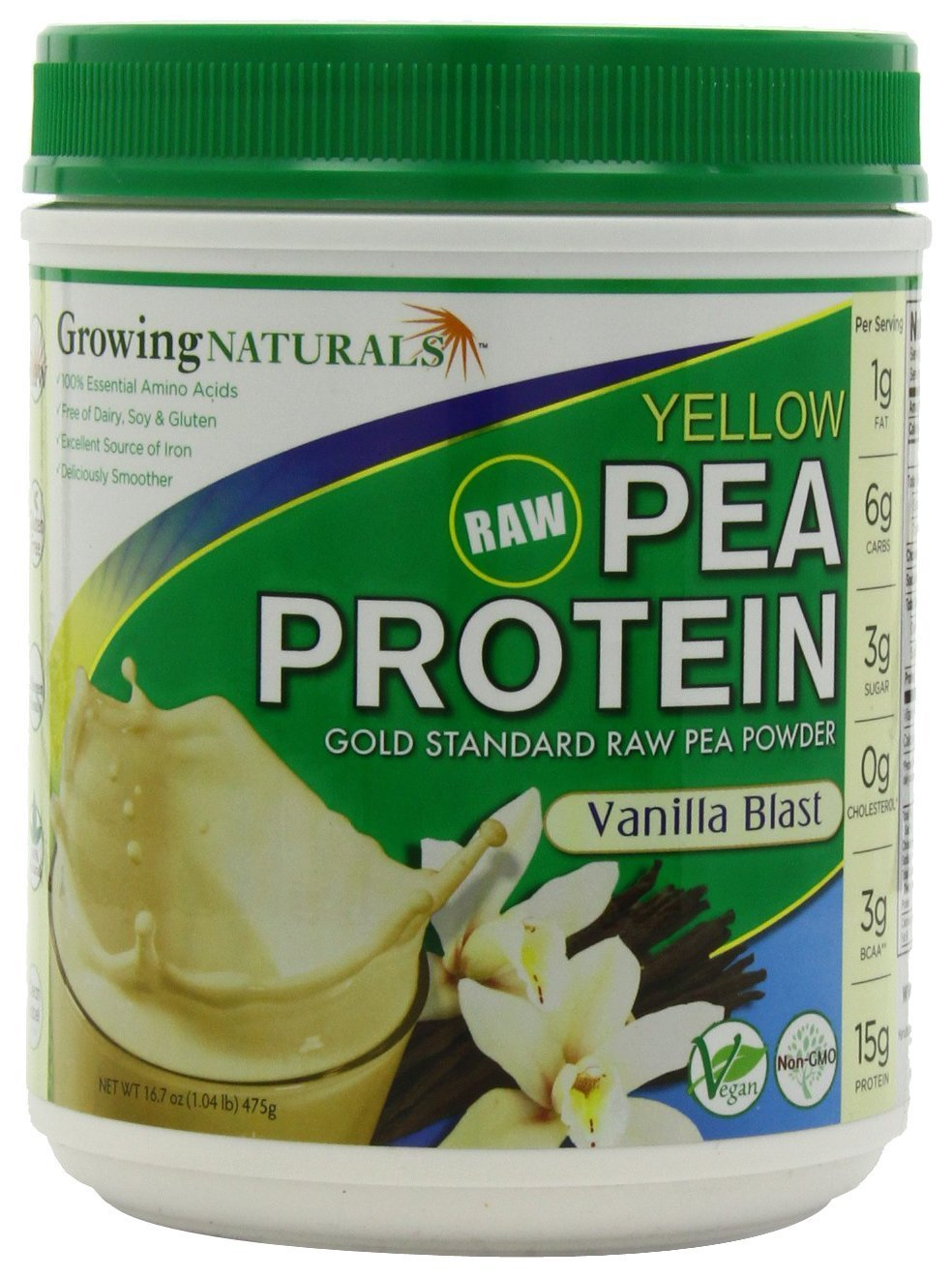 Growing Naturals Pea Protein Powder Vanilla - 16.7 oz (Pack of 3)