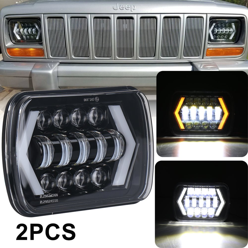 7x6 Inch Halo Led Headlights Ovotor 5x7 Square 1988 Jeep Comanche Wiring Diagram Headlamp With Arrow Angel Eyes Drl Turn Signal Light Replaces H6054 H5054 H6054ll 69822 Fit Trucks Wrangler Xj Yj Sedans