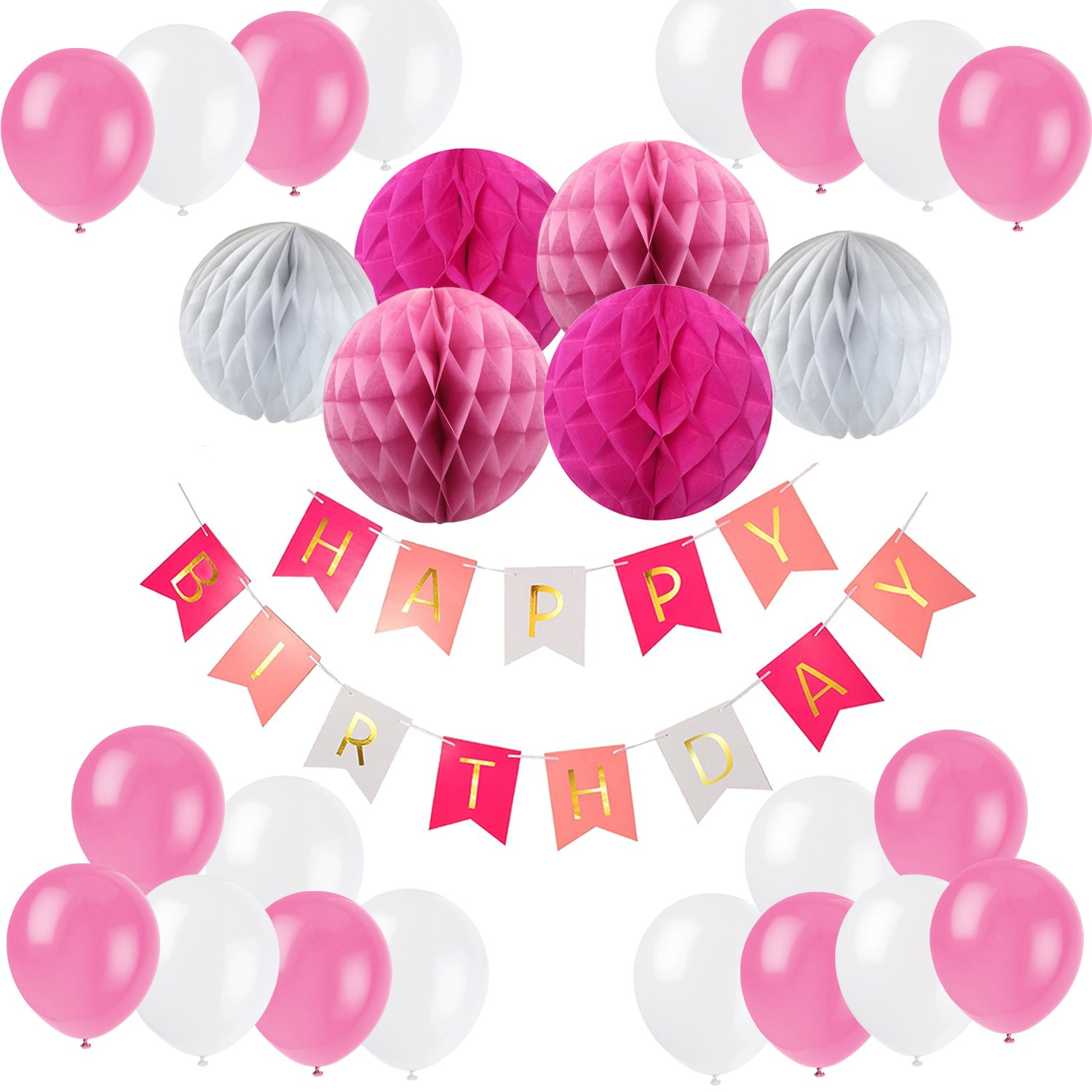 Recosis Happy Birthday Bunting Banner with 10 Pieces Latex Party Balloons and 6 Pieces Honeycomb Balls for Birthday Party Decorations - Blue