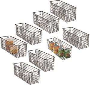 "mDesign Farmhouse Decor Metal Wire Food Storage Organizer Bin Basket with Handles for Kitchen Cabinets, Pantry, Bathroom, Laundry Room, Closets, Garage - 16"" x 6"" x 6"" - 8 Pack - Bronze"