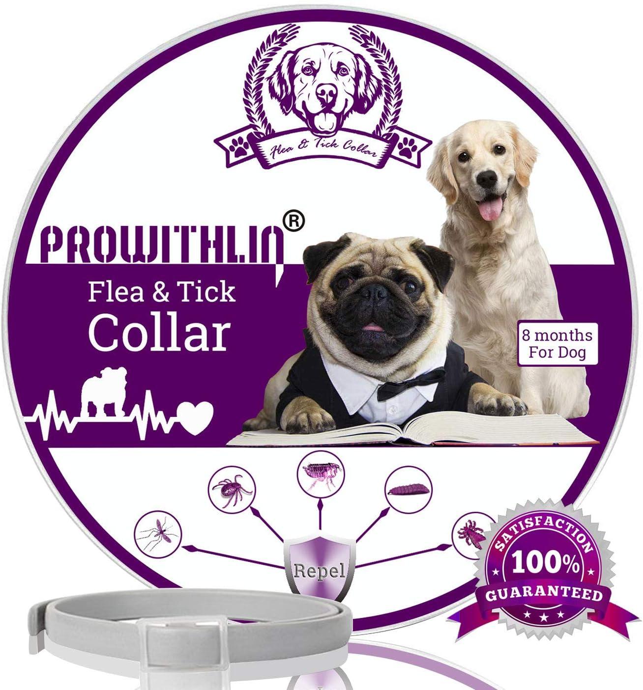 prowithlin Collar Antiparasitario para Perros contra Pulgas, Garrapatas Y Mosquitos, 8 Meses de Duración de Protección, Composición de Aceite Natural, No tóxico y Seguro