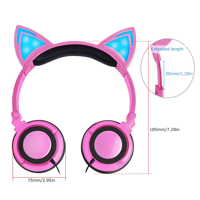 Auriculares Lobkin para niños, de moda, con forma de gato. Cascos plegables con luz intermitente. Compatible con iPhone, Android Phone, PC.