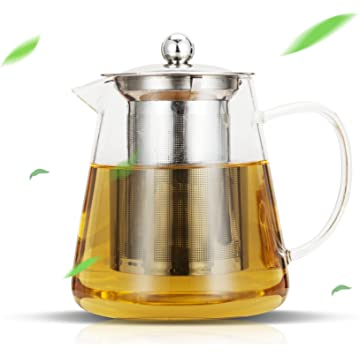 Luxtea Glass Teapot 25oz with Removable Stainless Steel Infuser and Steeper Filter Tea Maker for Blooming and Loose Leaf Tea Pots
