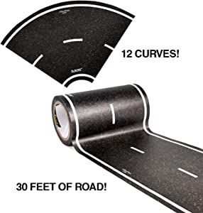 PlayTape Black Road Tape ― Includes Street Curves, Tape Toy Car Track for Kids, Sticker Roll for Cars and Train Sets, 2 Rolls of 15 ft x 4 Inch Road + 12 Curves