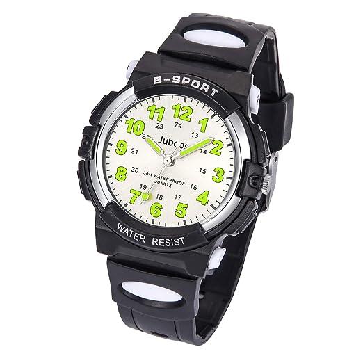 Relojes Niños, Reloj de Pulsera para Niños y Niñas Impermeable Reloj Deportivo de Cuarzo-Negro: Amazon.es: Relojes