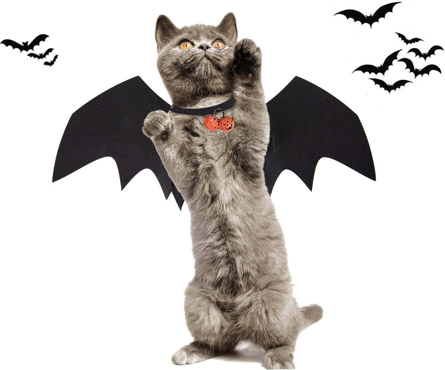 KATELUO alas de murciélago de Mascotas, Pet Halloween Bat Wings Disfraz, Cat Bat Wings con Campanas de Calabaza, Ideal para Fiesta de Cosplay de Halloween de Cachorro, Perro y Gato (M)