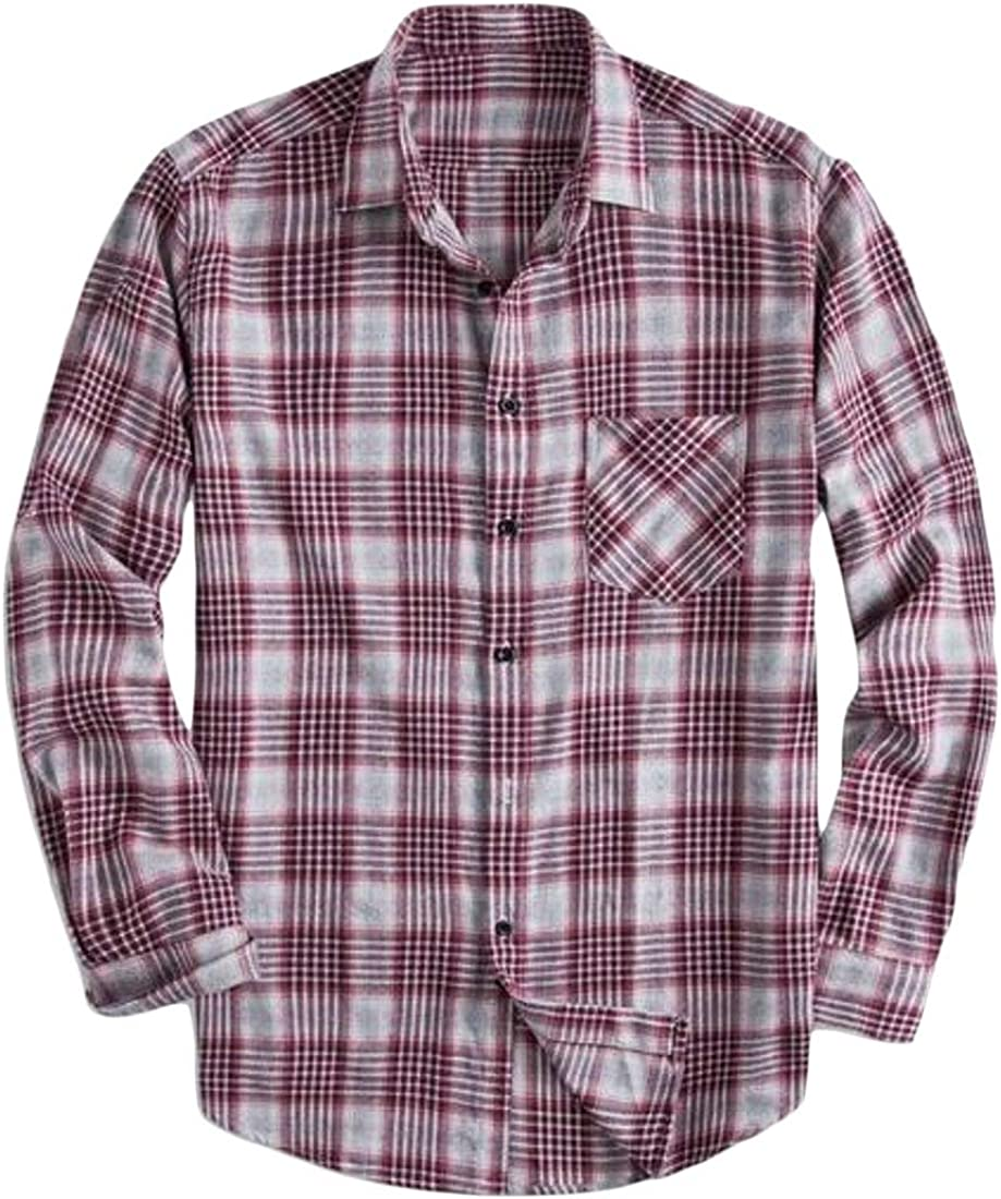 WAWAYA Mens Button Up Casual Plus Size Big and Tall Checkered Shirts Long Sleeve Plaid Print