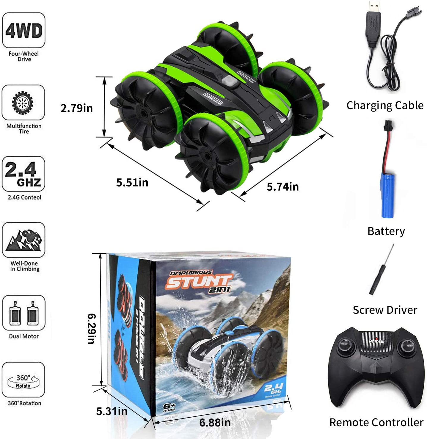 CMST Land Water 2 in 1 RC Cars Toy Amphibious Remote Control Car Boat for Kids Gifts for 4-12 Year Old Boys and Adults 2.4 GHz Rc Stunt Car 4WD Remote Vehicle with Rotate 360 Electric Car Toy