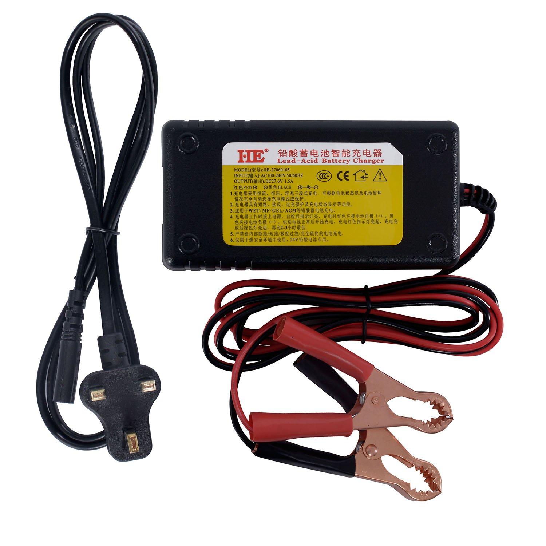 He 24V 1.5A Plomb-Acide chargeurs de batterie pour moto E-Bike chargeur de pince crocodile Interface HEBANG 27060105