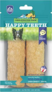 Himalayan Pet Supply Dental Dog Chew | Happy Teeth Natural Cheese Dog Chews | Dental Chew | Stain Free - Protein Rich - Low Odor | Gluten Free - Lactose Free - Grain Free | 2 Chews Per Pouch