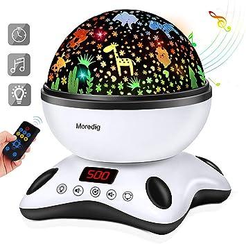 Moredig Lámpara Proyector Estrellas, 360° Rotación Músic Lampara con Temporizador led Pantalla y Control Remoto, 8 Modos Romántica luz de la Noche, ...