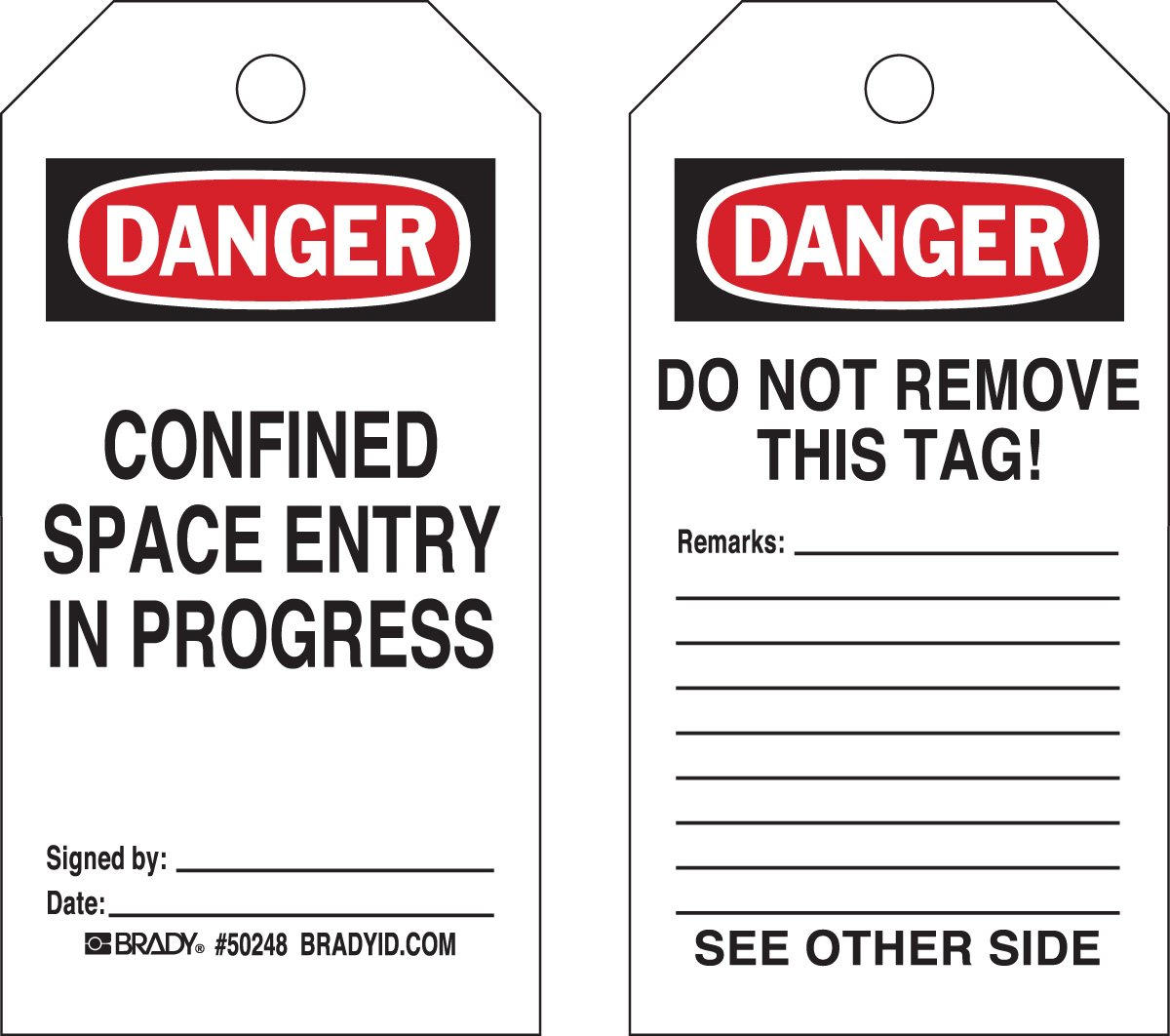 Brady  50248 5 3/4'' Height x 3'' Width, Heavy Duty Polyester (B-837), Black/Red on White Confined Space Tags (25 Tags) by Brady