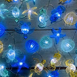 Ocean Themed Marine Life Night Lights, Beach Aquarium Decor Sea Turtle Seahorse Starfish Giant Clam String Lights USB Powered 24 LEDs 10ft for Girl Bedroom Wedding Birthday Parties