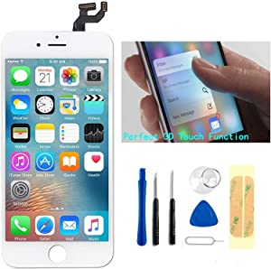 Master Screen Replacement for iPhone 6s Plus White 3D Touch Screen LCD Digitizer Replacement Frame Display Assembly Set with Repair Tool Kits (White)