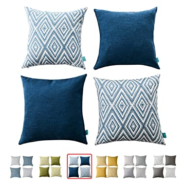 HOMEPLUS Plaid Cotton Decorative Pillow Covers 4 pcs Throw Pillows Covers Navy Blue Couch Pillowcase Cushion Cover 17X17 Throw Pillow Cover Couch Navy Blue