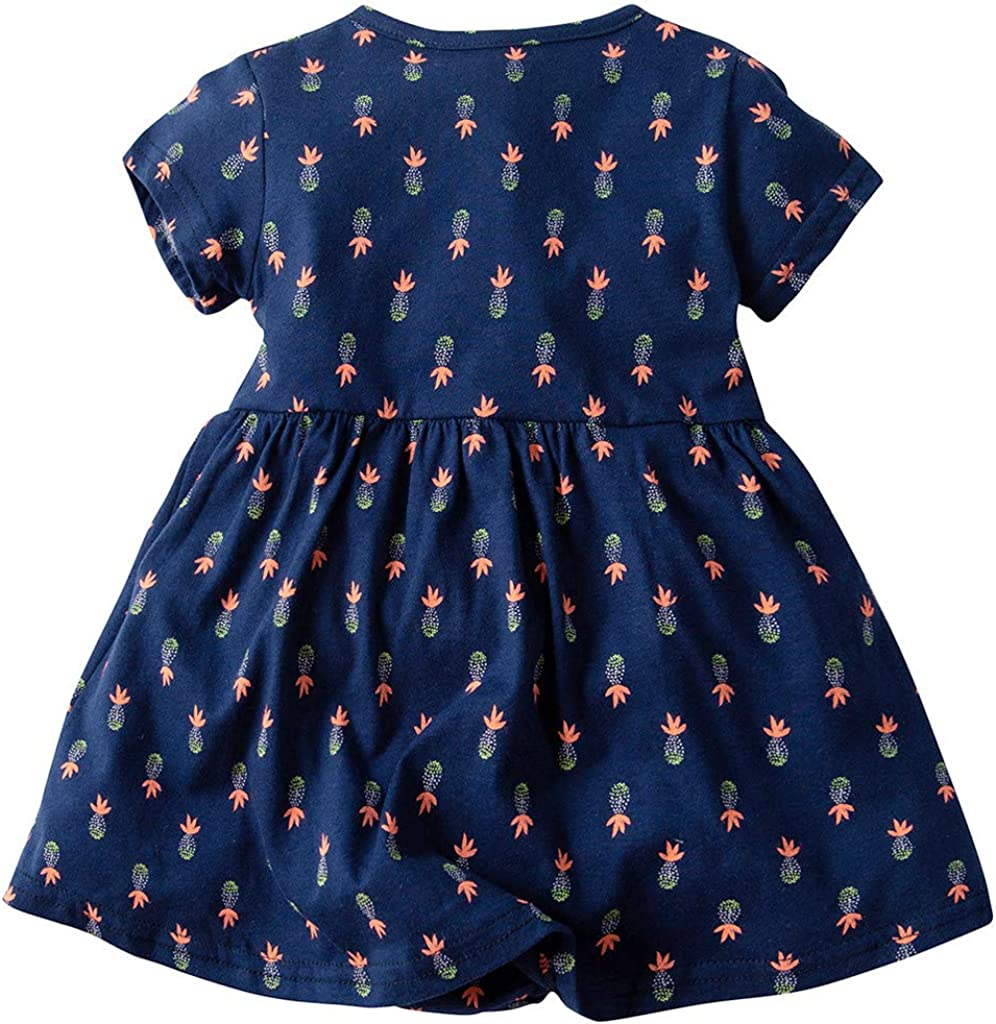 Baby Girl Dress Romper Newborn Short Sleeve Bodysuit Clothes Princess Party Summer Dress Outfit Toddler Flower Printed Costume