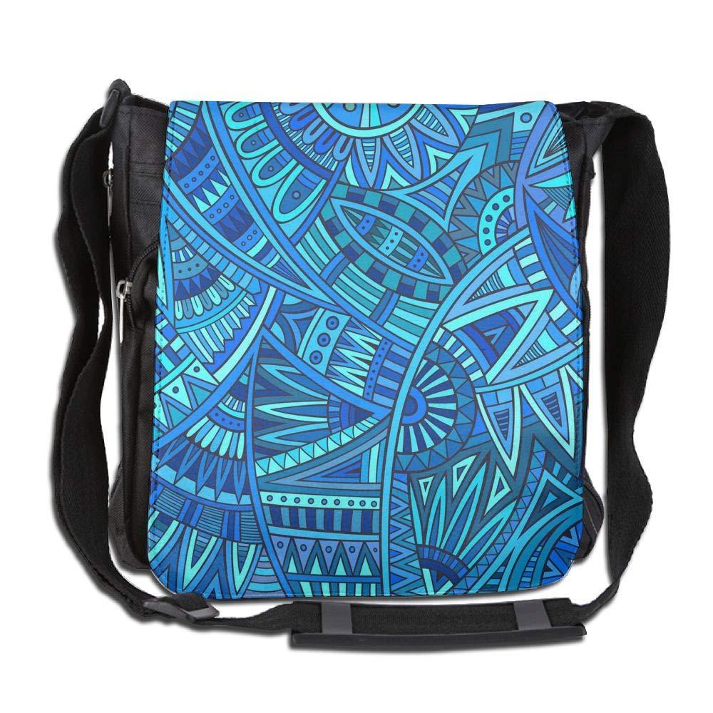 SARA NELL Messenger Bag,Arican Art Tribal Blue,Unisex Shoulder Backpack Cross-body Sling Bag