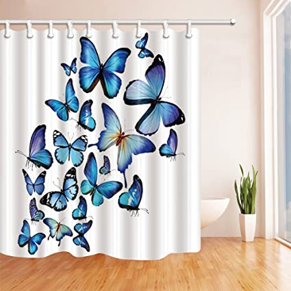 Image Unavailable Not Available For Color GoEoo 3D Blue Butterflies Shower Curtains