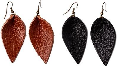 JSLOVE Women Summer Fashion Dangle Earrings Genuine Leather Lightweight Leaf Teardrop Earrings Jewelry for Girls