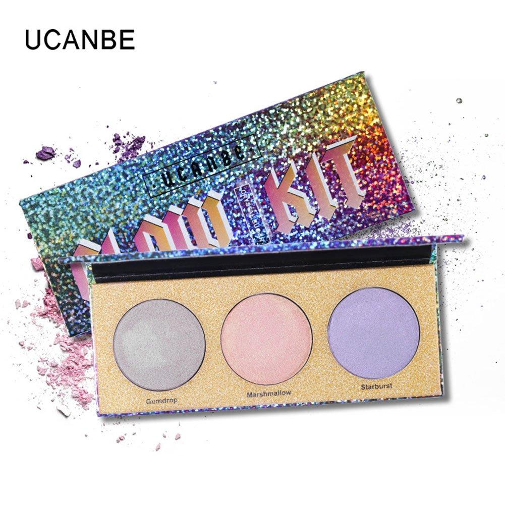 3 Colors Laser Highlighter Palette Multifunction Natural Long-lasting Change Color Brightening Blusher Eye Shadow RONSHIN