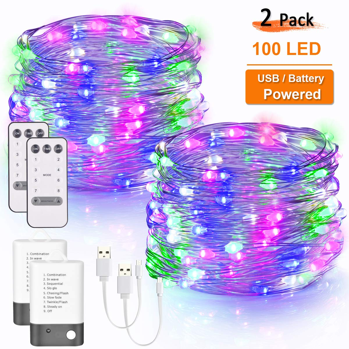 Areskey LED Fairy String Lights 2 Pack 33ft 100 LED USB and Battery Powered Waterproof 8 Modes Remote Control Copper Wire Firefly Lights for Christmas Halloween Holiday Wedding Party Multicolor