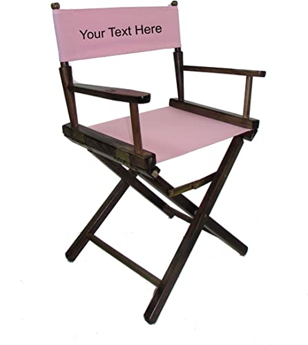 Personalized Imprinted Gold Medal Contemporary 18 Table Height Walnut Frame Directors Chair – Light Pink