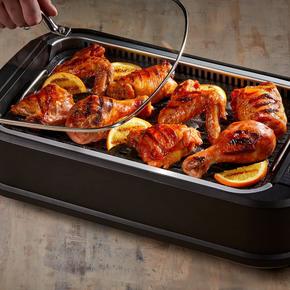 Pack 2 PowerXL Smokeless Grill with Tempered Glass Lid with Interchanable Griddle Plate and Turbo Speed Smoke Extractor Technology Make Tender Char-grilled Meals Inside With Virtually No Smoke
