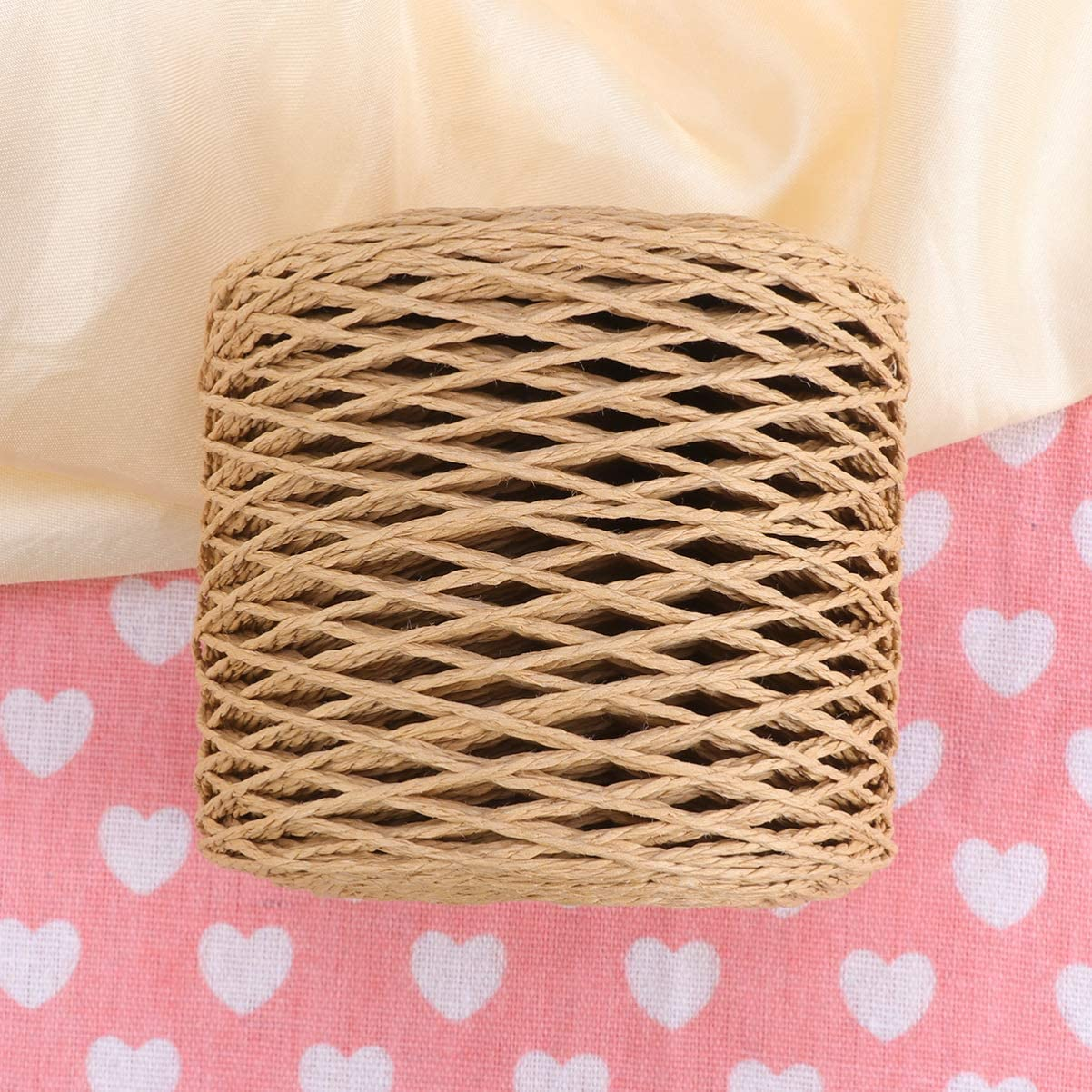 HEALLILY Raffia Paper Ribbon Twine Strings Natural Packing Rope for Festival Gifts Wrapping Weaving Hat Cap Bows Decoration 200m Coffee