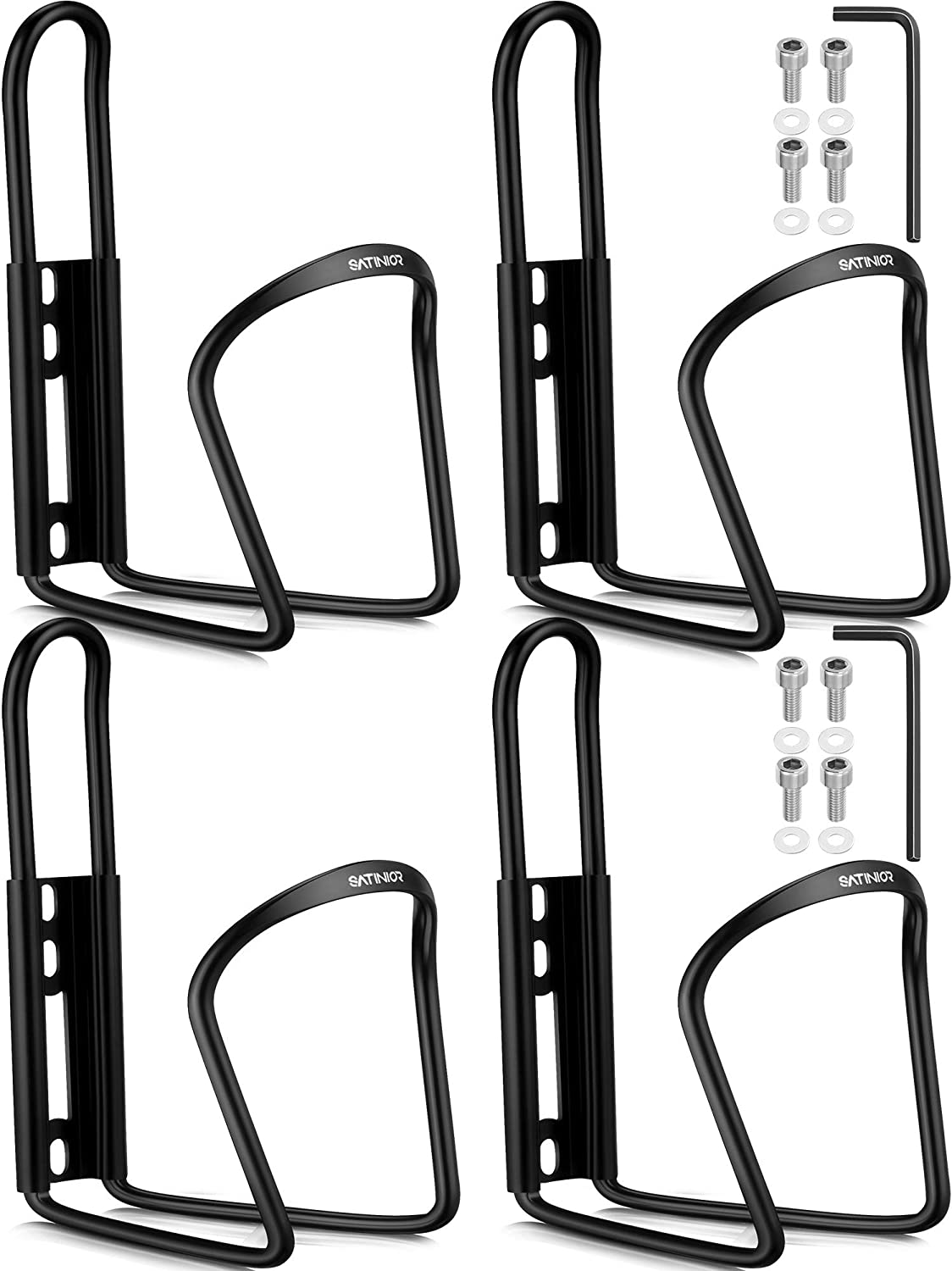 4 Pieces Bike Water Bottle Holder Bicycle Bottle Cage Aluminum Alloy Bicycle Water Bottle Mount Brackets for MTB Stroller Motorcycle Black