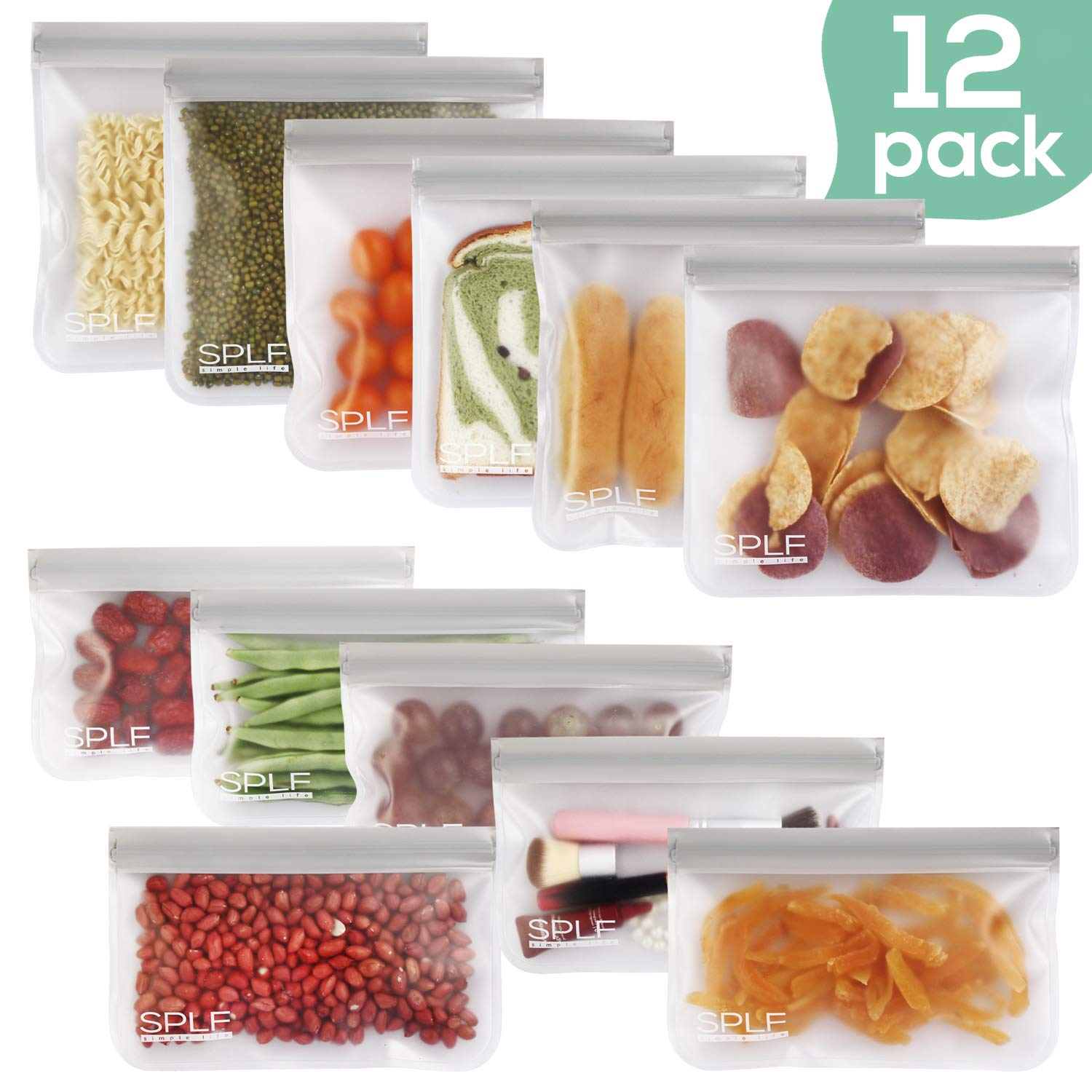 SPLF 12 Pack FDA Grade Reusable Storage Bags (6 Reusable Sandwich Bags, 6 Reusable Snack Bags), Extra Thick Leakproof Easy Seal Ziplock Lunch Bags for Food Storage Home Travel Organization