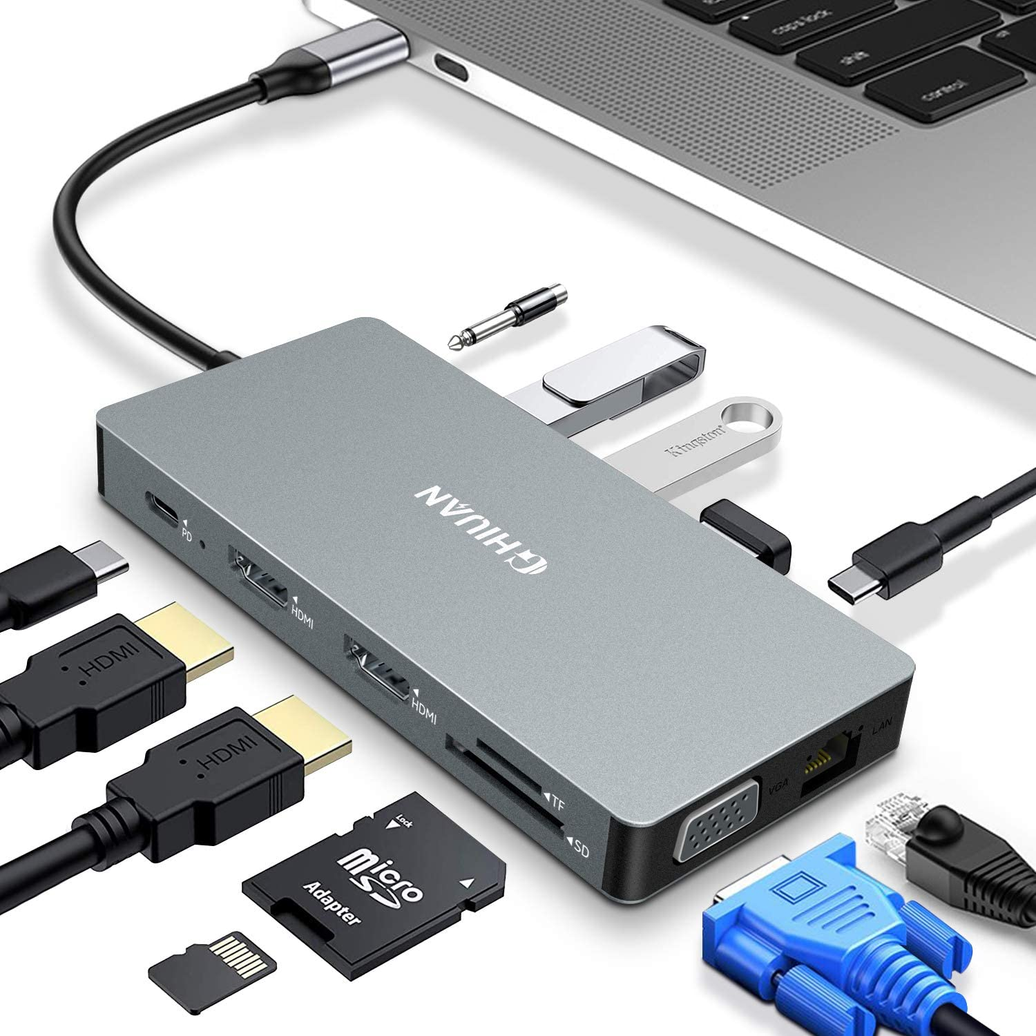 GHIUAN 12 in 1 Multiport USB C Hub Docking Station Dual 4K HDMI Monitor. Type C Adapter Compatible with MacBook Pro Air 2019 2020 Windows Laptop