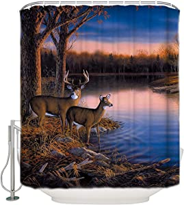 "YOKOU Deer Decor Waterproof Fabric Shower Curtain with Hooks,Nature Wildlife Animal Deers Print Bathroom Decor Bath Curtains Set,72"" L x 72"" W"
