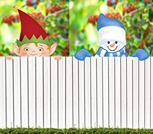 Elf and Snowman Fence Peeker Christmas Decoration,Holiday Fence Topper Decor,Outdoor Garden Lawn Yard Signs Decor,Holiday Christmas Themed Fence Decor (2PC - Elf+Snowman)
