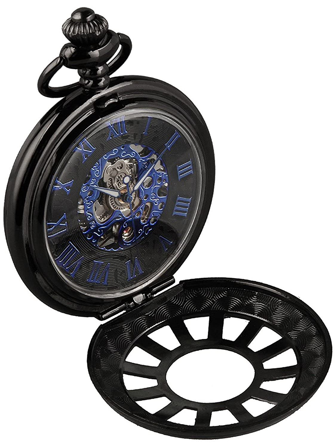 Amazon.com: Carrie Hughes Vintage Blue Hand Steampunk Skeleton Mechanical Pocket Watch with Chain Gift (Black 12 Window): Watches