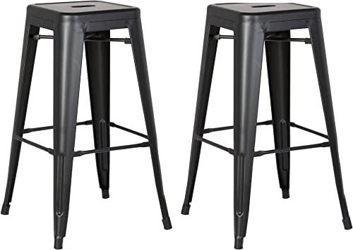 AC Pacific Modern Backless Light Weight Industrial Metal Barstool 4 Leg Design, 24 Seat Bar Stools Set of 2 , Matte Black Finish