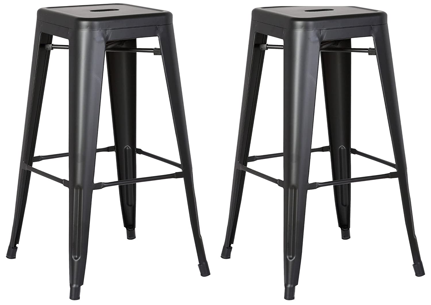 "AC Pacific Modern Backless Light Weight Industrial Metal Barstool 4 Leg Design, 24"" Seat Bar Stools (Set of 2), Matte Black Finish"