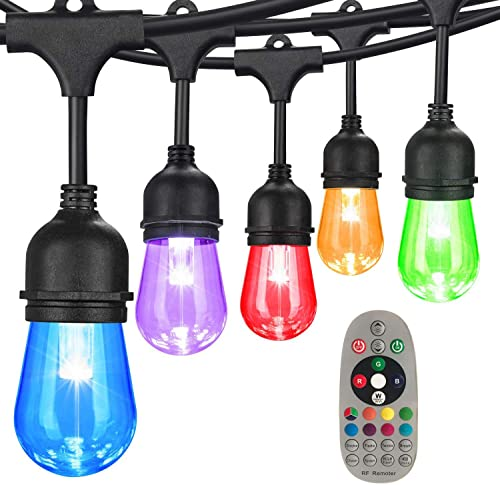DGO Color Changing String Lights Outdoor, RGB Cafe LED String Light with S14 Shatterproof Edison Bulbs Dimmable, Commercial Light String for Patio Backyard Garden, Remote Control Decor