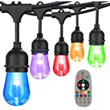 DGO 48FT Color Changing Outdoor String Lights, RGB Cafe LED String Light with 15 E26 Shatterproof Edison Bulb Dimmable, Comme