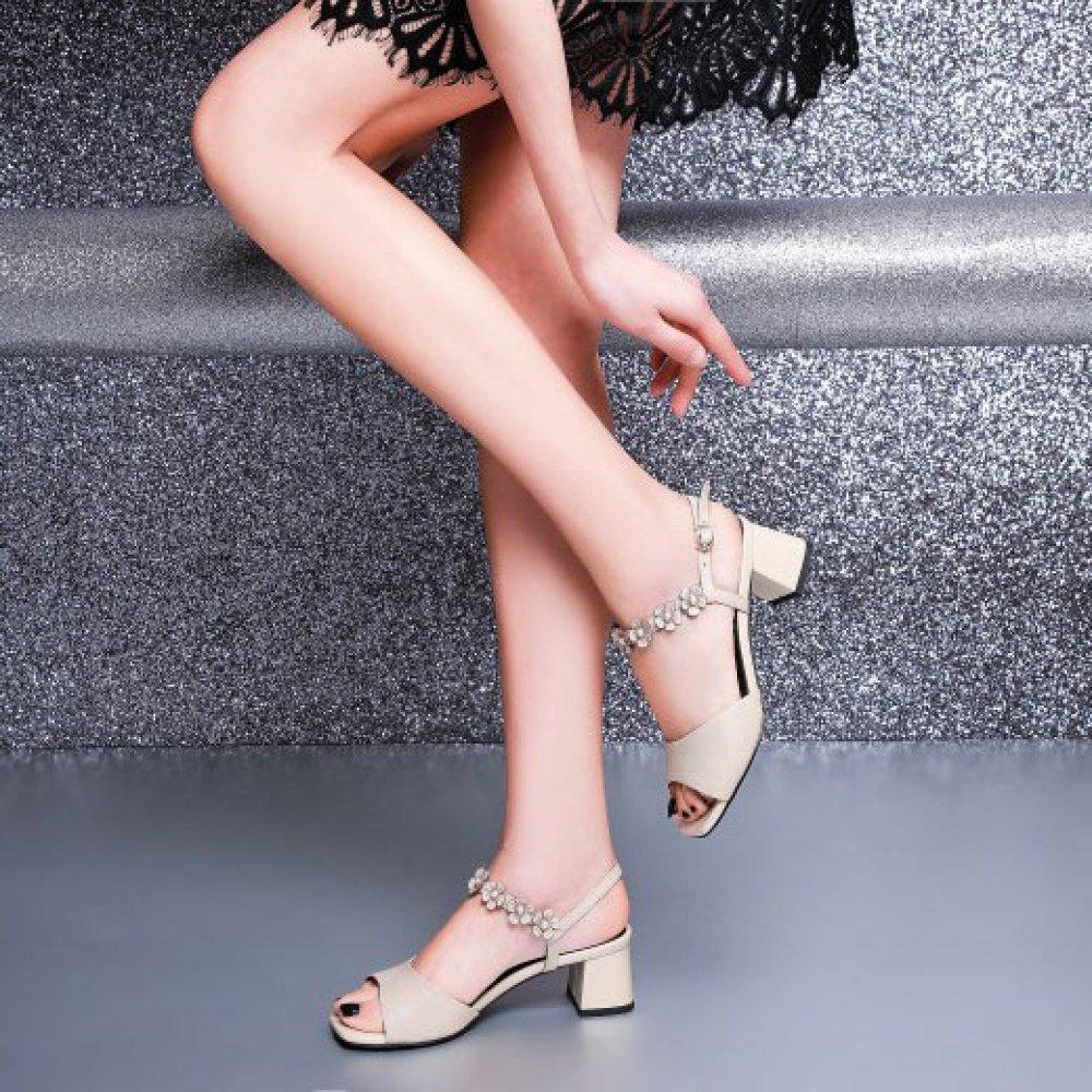 DKFJKI Frauen Frauen Frauen Ledersandalen Mittlere Ferse Schnalle Wilde Blaume Schuhe Einfache Mode e1ff97