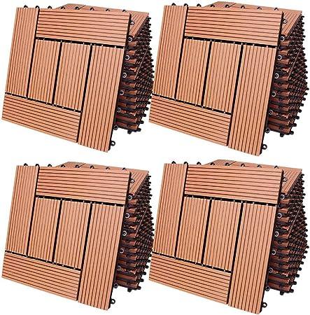 Deuba 44x Baldosas de madera WPC compuesto Terracota 30 x 30 cm losas de suelo losetas de jardín interior y exterior: Amazon.es: Bricolaje y herramientas
