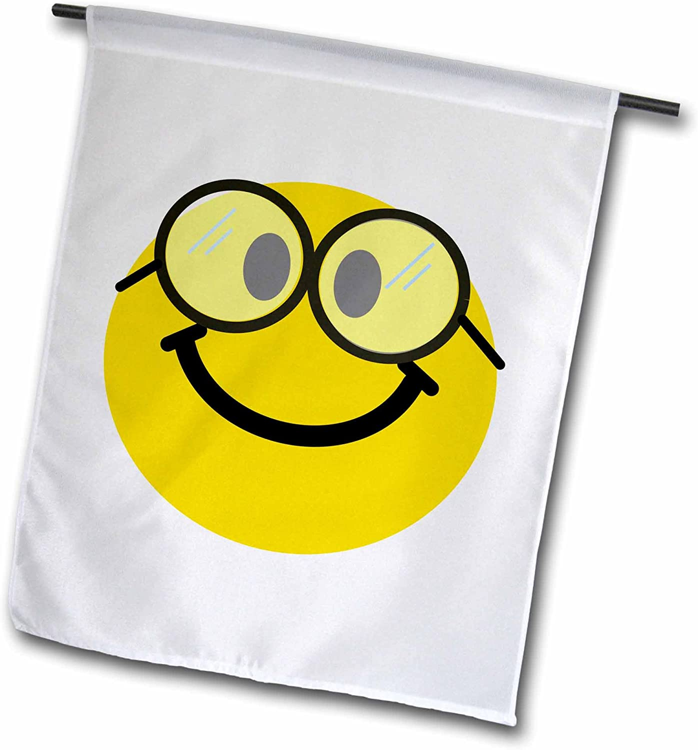 3dRose fl_113100_1 Geeky Smiley Face Cute Geek Happy Nerd Yellow Smilie with Glasses Smiling Studious Cartoon Smile Garden Flag, 12 by 18-Inch