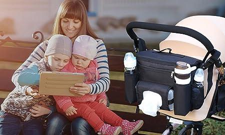 Schwarz Denior Buggy Aufbewahrung Tasche s Universal Kinderwagentasche Gro/ß f/ür Zwillingswagen,Baby Stroller