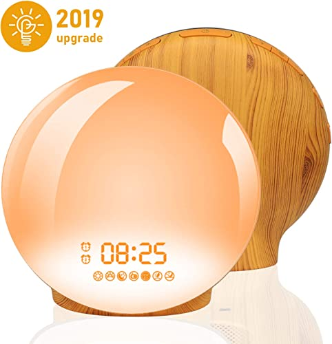 Wake Up Light Alarm Clock, Homagical Sunrise Alarm Clock with Sunset Simulation, LED Clock with Dual Alarms Soonze Function, 7 Colors 7 Natural Sounds and FM Radio, Dimmable Bedside Lamp for Bedrooms